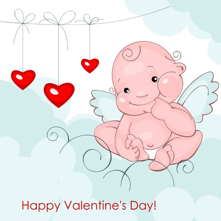 Valentine greeting card - happy valentine day.baby angel with three hearts  on a blue cloudsVector illustration Illustration