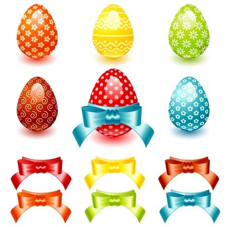 イースターの花のパターンとカラフルな bows.vector イラスト卵を設定します。