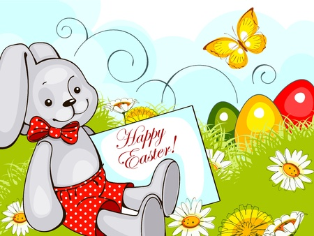 happy easter card.rabbit on grass with flowers and colorful eggs.vector illustration. Vector