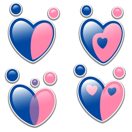 family icon. set symbol in the shape of a heart Vector
