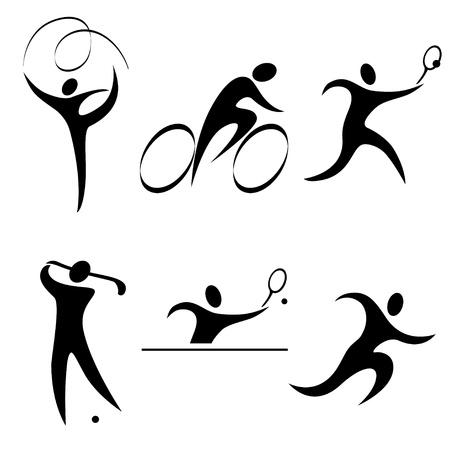 sports icon: Conjunto deportivo persona icono. Los deportes individuales. Ol�mpicos de Verano discipline.vector ilustraci�n.