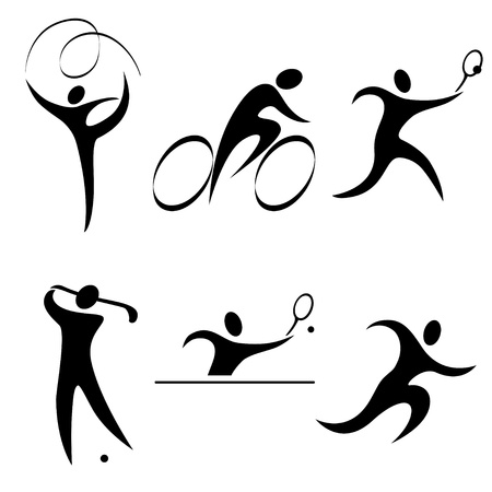 Set sports icon person. Individual sports. Summer sports competition discipline.vector illustration. Ilustracja