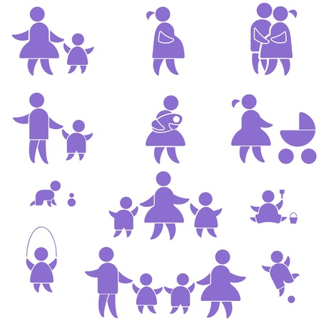 happy family icon. set symbol person:  mother, father and kids isolated on white