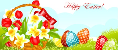 happy easter banner.easter basket with flowers and egg with pattern on grass.  illustration. Vector