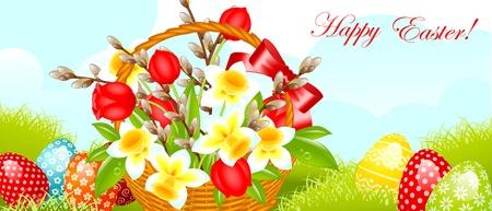 arbol de pascua: Felices Pascuas border.easter canasta con flores, sauces y el huevo en la pradera. ilustración vectorial. Vectores