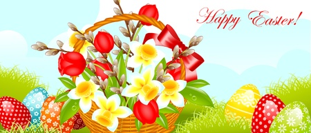 flower basket: happy easter border.easter basket with flowers, willow and egg on meadow. vector illustration.