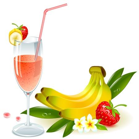 バナナとイチゴ果実とわらのガラス ジュース