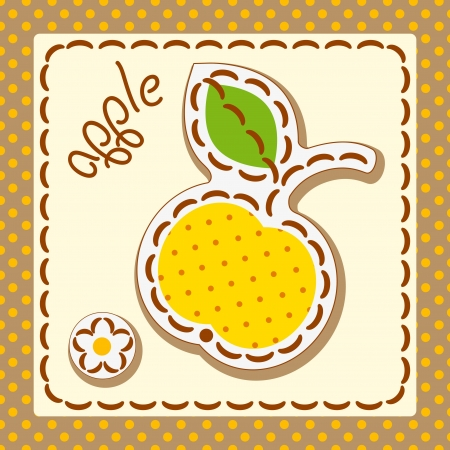 apple. cards from the fruit, decorated with embroidery on the elements of the original background.  Vector