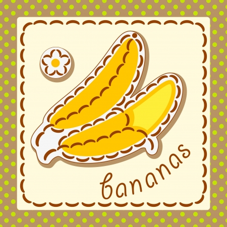 Bananas. Cards from the fruit and berry, decorated with embroidery on the elements of the original background. Vector