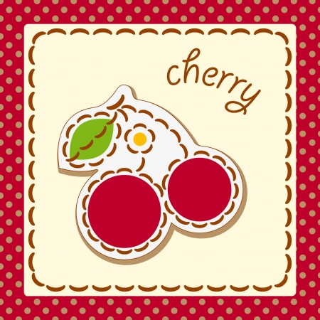 cherry. Cards from the fruit and berry, decorated with embroidery on the elements of the original background.  Vector