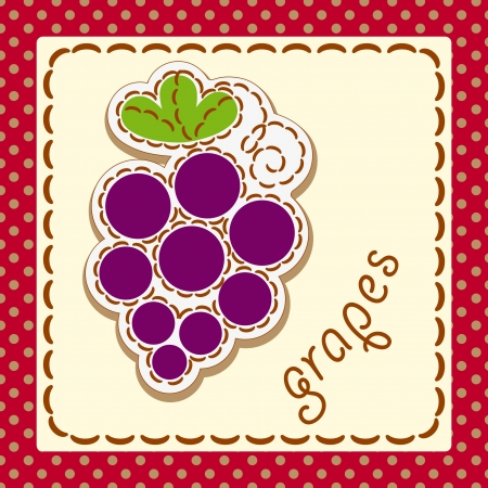 grapes. Cards from the fruit and berry, decorated with embroidery on the elements of the original background. Vector