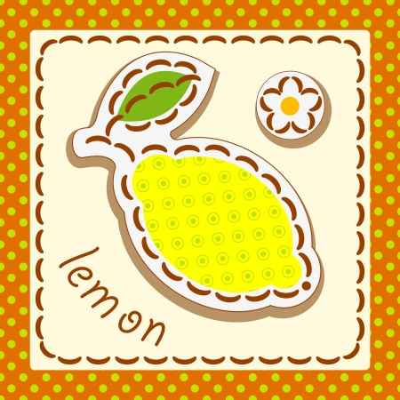 lemon. Cards from the fruit and berry, decorated with embroidery on the elements of the original background. Vector