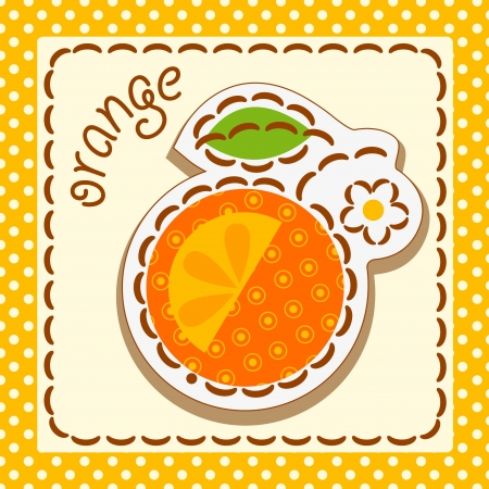 orange. Cards from the fruit and berry, decorated with embroidery on the elements of the original background.  Vector