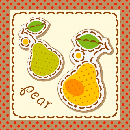 pear. Cards from the fruit and berry, decorated with embroidery on the elements of the original background.  Vector