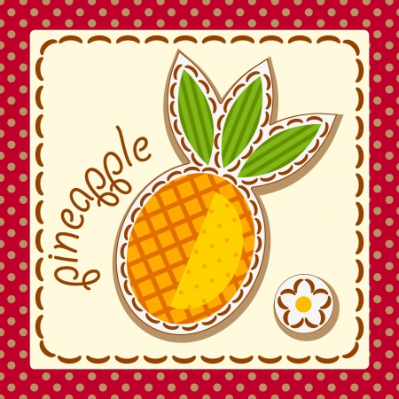 pineapple. Cards from the fruit and berry, decorated with embroidery on the elements of the original background.  Vector