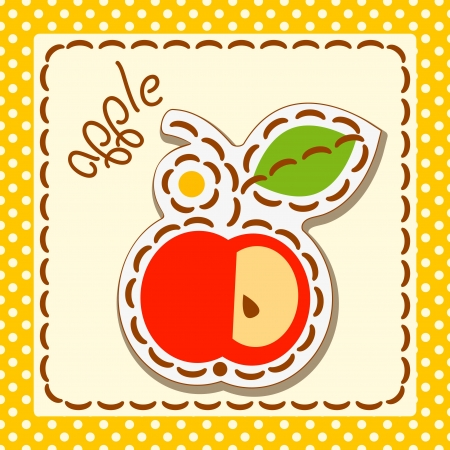 Red apple. Cards from the fruit, decorated with embroidery on the elements of the original background. Stock Vector - 17180382