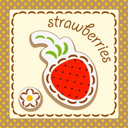 fresas. Tarjetas de la fruta y de la baya, decorada con bordados en los elementos del fondo original. Foto de archivo - 17180412