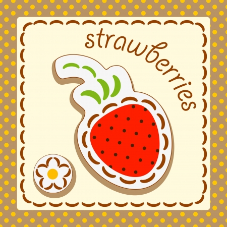strawberries. Cards from the fruit and berry, decorated with embroidery on the elements of the original background. Stock Vector - 17180412