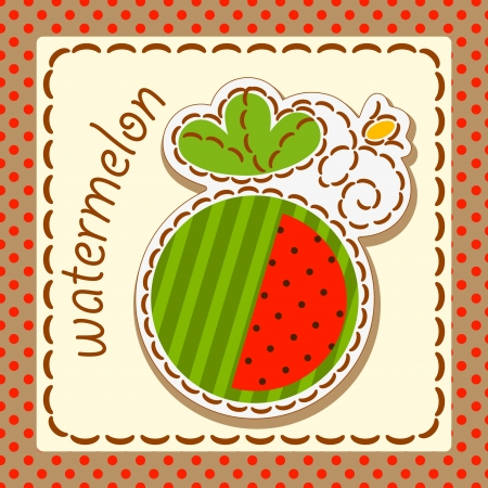 watermelon. Cards from the fruit and berry, decorated with embroidery on the elements of the original background.  Stock Vector - 17180415