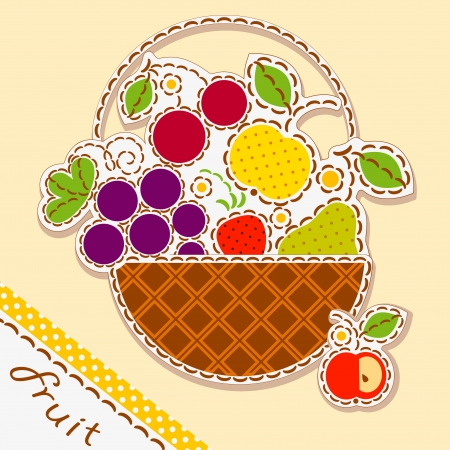basket embroidery: basket fruits and berry. Card decorated with embroidery on the elements of the original background.