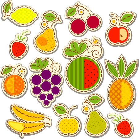 berry fruit: Set fruit and berry, decorated with embroidery on the elements of the original background.  Illustration