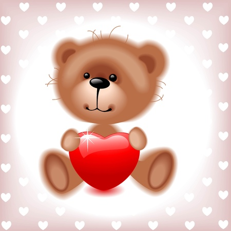teddy  bear boy with red  heart. Valentine card.  illustration Vector