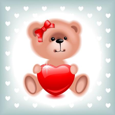 teddy  bear girl with red  heart. Valentine card. illustration Vector