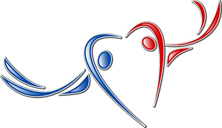 family icon. couple in love symbol is valentine heart Vector