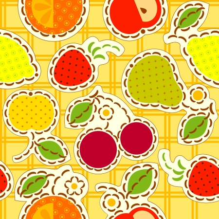 fruits wallpaper, decorated with embroidery.  Stock Vector - 17741037