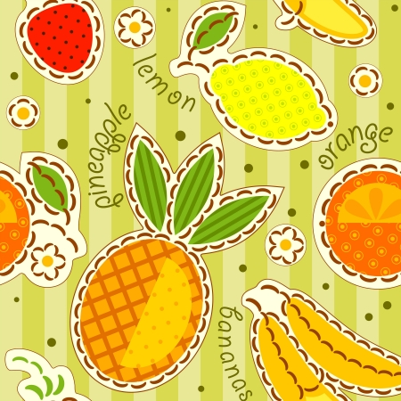 fruits wallpaper, decorated with embroidery.  Vector