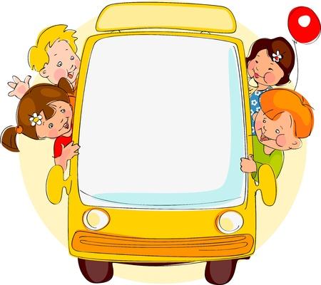 cronograma: School bus. Lugar para su texto