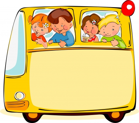 clip art draw: School bus. Place for your text