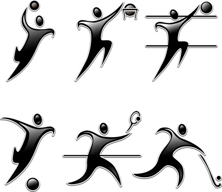 badminton sport symbol: Set sports icon person. Summer team  sports competition discipline.