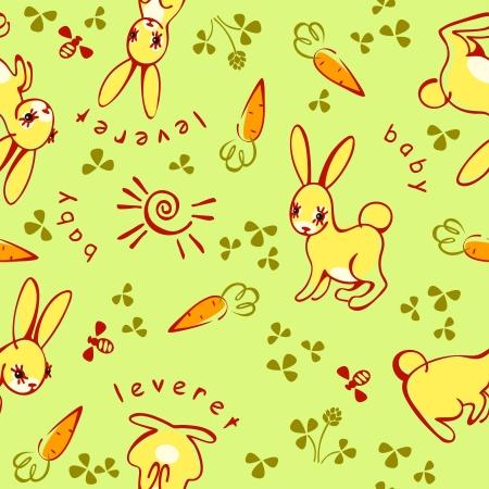 rabbits. children background with wild animals. Stock Vector - 18284153