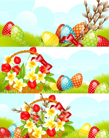 set easter banner  with flowers and egg on grass. vector illustration. Vector