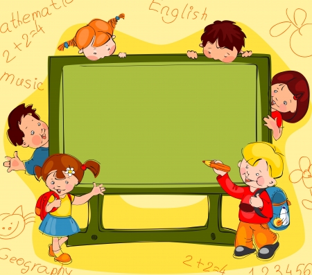 Children on the background of the school board  Place for text Illustration