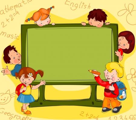 Niños en el fondo de la junta escolar para el texto Foto de archivo - 21394479