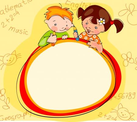 enfants peinture: �coliers place pour le texte