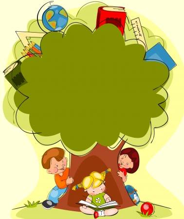 school backpack: school children under the tree of knowledge  Place for text