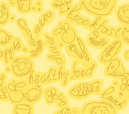 wallpaper with food and kitchen items on a yellow background    Vector