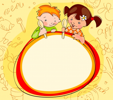 children with spoons on yellow background. Place for text. menu  Vector