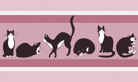 家の屋根の上を歩いて壁紙猫へのボーダー。パステル カラー