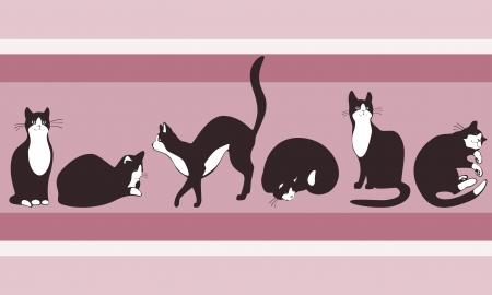 animal background: border to wallpaper cat walking on the roof of the house. pastel colors Illustration