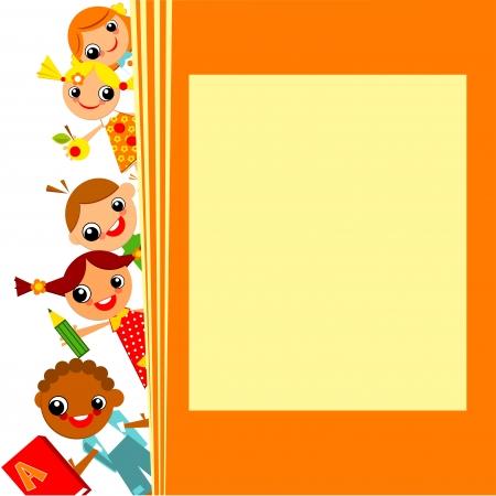 学校の子供たちの黄色の背景。テキストのための場所
