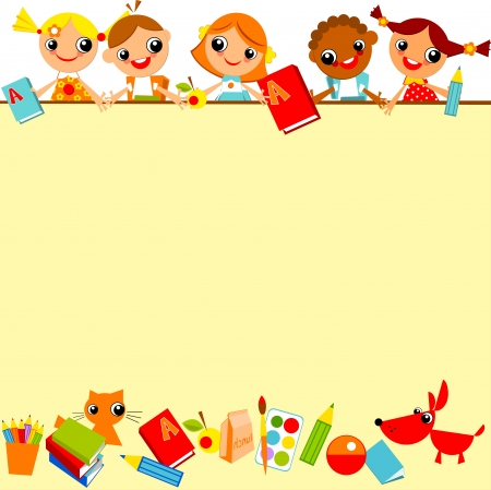 maestra preescolar: fondo amarillo de los escolares. Lugar para el texto Vectores