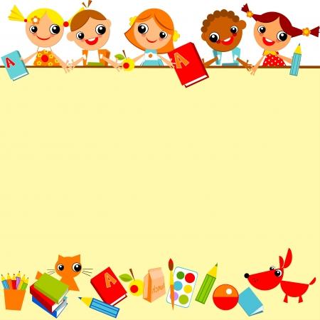 schoolkinderen gele achtergrond. Plaats voor tekst Stock Illustratie