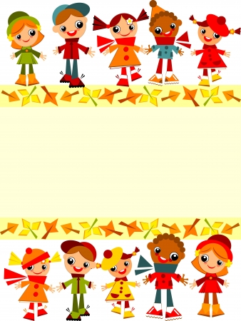 school childrens  yellow background. Place for text Vector