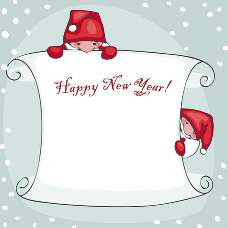 collections: Banner of happy new year, with Santa Claus