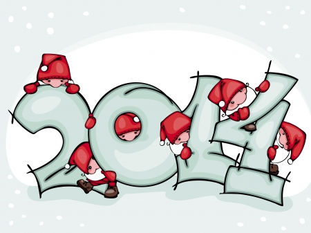 Banner of new 2014 year with Santa Claus  Vector