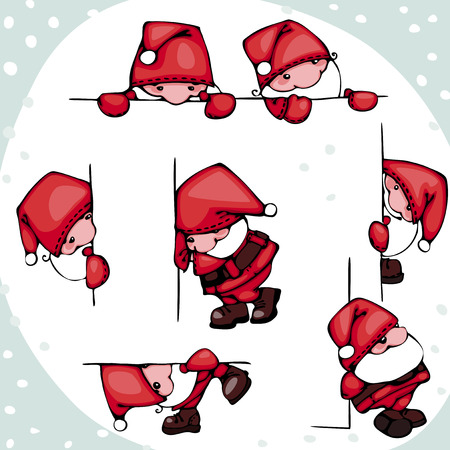 christmas set with Santa Claus in different positions. Stock Vector - 23161109